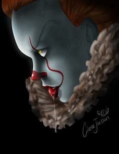 Pennywise fanart - That drool though! Pennywise Lives, Pennywise Film, Pennywise The Dancing Clown, Pennywise Tattoo, Touka Wallpaper, Scary Wallpaper, Horror Icons, Horror Art, Horror Movie Characters