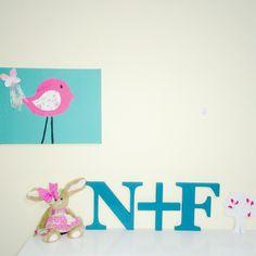 Custom designed letters in teal. Nursery decor