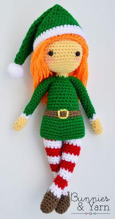 Crochet Patterns Christmas Crochet Pattern – Edna the Elf – Christmas Doll – Amigurumi Christmas Crochet Patterns, Crochet Christmas Ornaments, Crochet Patterns Amigurumi, Christmas Elf, Amigurumi Doll, Crochet Dolls, Crochet Baby, Free Crochet, Xmas