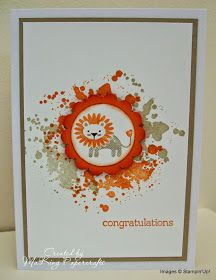 My second card uses the Gorgeous Grunge set and the cute little lion and sentiment from Zoo Babies. The Gorgeous Grunge 'splatter' was stamped in Pumpkin Pie and Crumb Cake and the lion was inked using markers in the same colours. This was punched with a Circle Punch and matted onto a Scallop Circle then fixed to the card with dimensionals. The panel was matted onto Crumb Cake cardstock and then onto a plain white card blank.