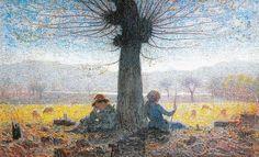 Two Shepherds On The Fields Of Mongini Print By Giuseppe Pelizza Da Volpedo - 1901