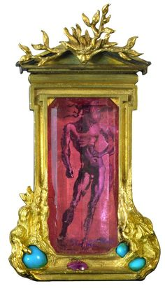 """Apollo and Daphne"" brooch of gold, pink tourmaline, turquoise, and ruby by Verdura with miniature painting by Salvador Dalí (courtesy Verdura)."