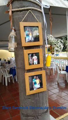 Trio de Porta Retrato Rústico Decoração Doce Surpresa Decoração e Eventos