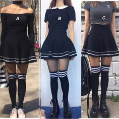 Korean Fashion – How to Dress up Korean Style – Designer Fashion Tips Edgy Outfits, Grunge Outfits, Skirt Outfits, Pretty Outfits, Fashion Outfits, Knee Socks Outfits, Knee High Socks Outfit, Dress Socks, Mom Outfits