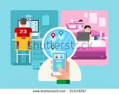Video chat. Internet chatting, correspondence with smartphone, multimedia conference, flat vector illustration