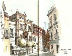 Alfonso Garcia - Calle arque de Molina - Sevilla Sketch Painting, Watercolor Sketch, Drawing Sketches, Drawings, Building Illustration, Illustration Art, Street Pictures, City Sketch, Nature Sketch
