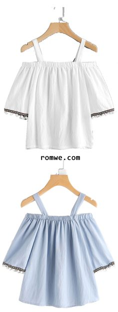 Elastic Open Shoulder Embroidered Pom Pom Cuffs Blouse