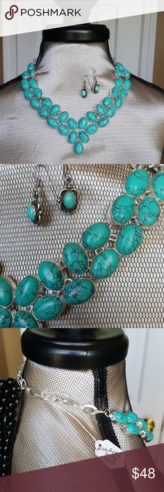 """NWT sterling silver santa rosa turquoise jewelry This stunning statement piece is nwt and priced to sell! .925 sterling stamp as pictured and real stones. This set retails at $215.  Total length is 21"""" or 22"""" depending on which link you clasp at. Jewelry Necklaces"""