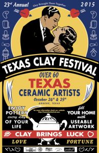 Texas Clay Festival (October 24 & 25, 2015)  The 23rd annual Texas Clay Festival will be held in the Gruene Historical District of New Braunfels on October 24 & 25 2015. Featuring the work of over 60 Texas potters and clay artists, the festival offers the opportunity to view and purchase a wide variety of pottery, from traditional to sculptural by the top clay artist in the state. Take this unique opportunity to watch and learn as demonstrations are held in four tents throughout both days.