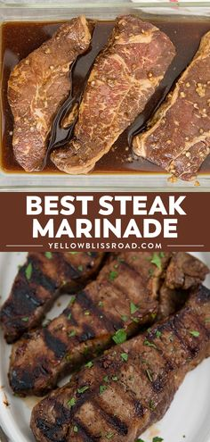 This Steak Marinade is super simple and packed with flavor, giving you a tender, juicy piece of meat every time you're grilling steak. This Steak Marinade is super simple and packed with flavor, giving you a tender, juicy piece of me Steak Marinade For Grilling, Steak Marinade Recipes, Meat Marinade, Grilled Steak Recipes, How To Grill Steak, Grilled Meat, Grilling Recipes, Beef Recipes, Cooking Recipes
