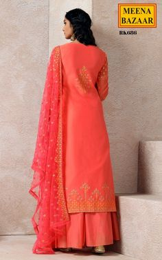 395ab6a06f3a5 Coral Embroidered Sharara Set Online Shopping For Ethnic Wear: Buy Designer  Sarees, Lehengas, Anarkali suits, Salwar Suits,Kurtis,Gowns –  Meenabazaar.com