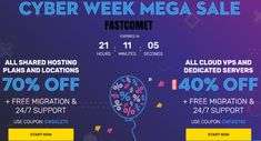 FASTCOMET CYBER WEEK MEGA SAVINGS. SAVE 70% on ALL SHARED HOSTING PLANS AND LOCATIONS & 40% on ALL CLOUD VPS AND DEDICATED SERVERS: Free Domain Transfer, SSD-Only Cloud, Free Cloudflare CDN, Powered by cPanel, Daily and Weekly Backups, 45 days money-back guarantee & more: