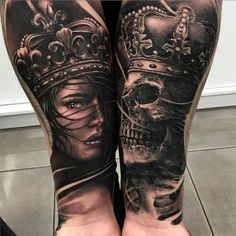matching king and queen tattoo #TattooIdeasMensSleeve