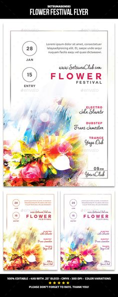Buy Flower Festival Flyer by SetsunaSensei on GraphicRiver. Flower Festival Flyer This flyer is perfect for promoting your next techno/electro/dubsteb musical night party. Flower Graphic Design, Festival Flyer, Psd Flyer Templates, Flower Festival, Floral Flowers, Flyers, Trance, Abstract, Techno