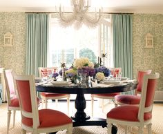 Great Dining Room, Love the Colors and the Chandelier.