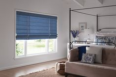 Graber Blinds Fresco Roman Shades with Cordless Lift: Madrid, Azure 3515