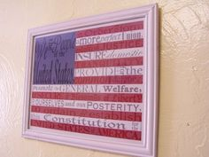 American Flag with the preamble to the Constitution -- free printable!  www.coachadhd.com  #july4th, #independenceday, flag, America, holiday