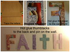 wall art for less than a dollar. all you need is scrapbook paper, cardboard, hot glue and thumbtacks