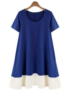 Color Block Loose Fitting Absorbing Round Neck Plus Size Shift Dress White Plus Size Dresses, Plus Dresses, Plus Size Outfits, Shift Dresses, Loose Dresses, Gowns With Sleeves, Short Sleeve Dresses, Mini Shirt Dress, Plus Size Kleidung