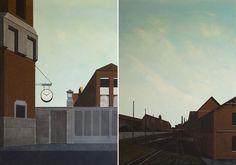 Arduino Cantàfora, Berlin quatre ans avant la chute du mur II e III, oil on wood, 70 x 50 cm, 2015