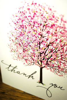 Thank You Cards Bright Pink and Colourful Cherry by nvcreative, $5.00