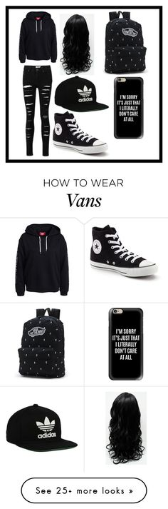 """""""A black school outfit"""" by duckylovesshop on Polyvore featuring Converse, Vans, adidas Originals and Casetify"""
