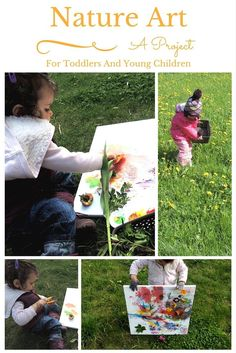Nature art project for toddlers and young children. Invitation to play and paint with nature treasures.