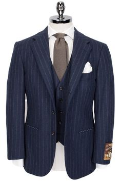 Ring Jacket RE034F03 Scotch Flannel Chalkstripe Wool AMJ01 Three-Piece Suit navy