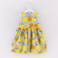 New Princess Dress Sleeveless Fruit Pattern Printing Design for Kids Dresses