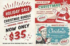 Retro Christmas Labels Bundle by DISTRICT 62 studio on @creativemarket
