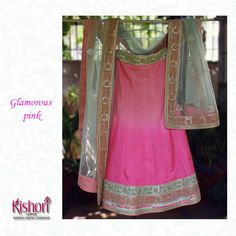 Glam up with this gorgeous shaded pink silk lehenga and a delicate mint green net dupatta