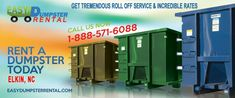 Elkin, NC at EasyDumpsterRental Dumpster Rental in Elkin, NC Get Tremendous Roll Off Service & Incredible Rates How We Provide Impressive Roll Off Service in Elkin: You don't have to just settle for any old dumpster company when you have outstanding choices available like us. We are not a run of the mill operation... https://easydumpsterrental.com/north-carolina/dumpster-rental-elkin-nc/