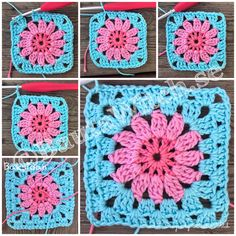 ♥ Creativity is intelligence having fun! Crochet Squares, Crochet Granny, Crochet Motif, Crochet Hooks, Knit Crochet, Crochet Patterns, Peacock Crochet, Crochet Flowers, Crochet Capas