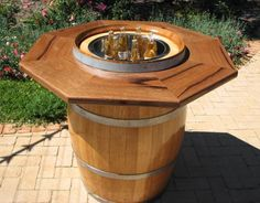 Wine barrel cooler/cocktail table!