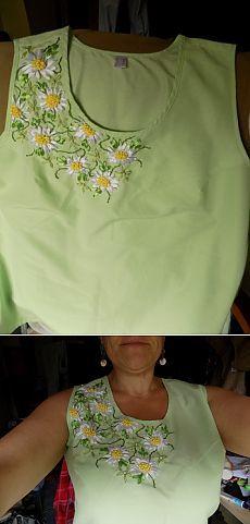 Ромашки на одежде / Вышивка / Вышивка лентами