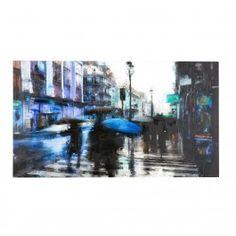 ART MURALE NILES WALKING CITY... Effrénée et intense, la ville ralentit le pas lors des journées pluvieuses et peu devenir le théâtre de rencontres furtives. Apprivoisez sa nature insaisissable avec une création intrigante à suspendre au-dessus de votre espace de détente, et laissez-vous bercer par le calme après la tempête.