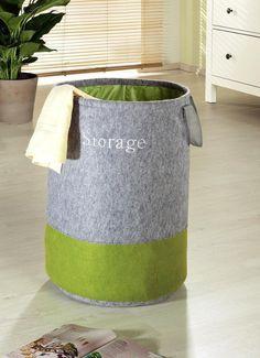 Wäschesammler Wäschebehälter Wäschekorb POP UP Filz grau / grün 40x40x60cm | eBay