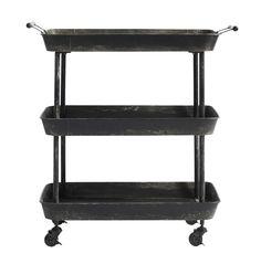 Bakkebord på hjul med 3 bakker - rustik jern 1.895,00 DKK
