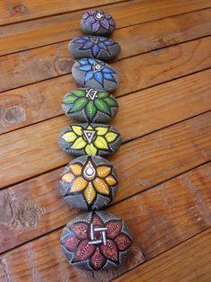 Lotus Stone - Chakra Series of 7- hand painted rock. $120.00, via Etsy.
