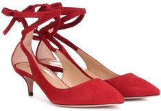 A kitten heel and a lipstick red colorway bring a glamorous update to the Milano 45 pumps from Aquazzura. Crafted in Italy from smooth suede, the design has a chic pointed toe, charming ties that wrap around the ankle, and a . Tan Shoes, Pump Shoes, Velvet Block Heels, Online Lingerie, Kitten Heel Pumps, Patent Leather Pumps, Slingback Pump, Aquazzura, Alternative Fashion