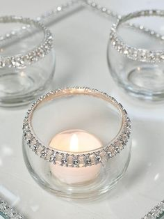 Wedding Lighting: Teacup Candles in Rhinestone Candle Holders - Beautiful. Could be a DIY project, too.