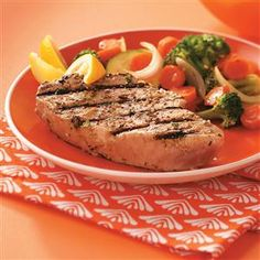 "Garlic Herbed Grilled Tuna Steaks Recipe- Recipes ""After enjoying yellowfin tuna at a restaurant in southwest Florida, I came up with this recipe so I could enjoy the flavor of my favorite fish at home. Wrap Recipes, Fish Recipes, Vegetable Recipes, Seafood Recipes, Cooking Recipes, Healthy Recipes, Fresh Tuna Recipes, Dinner Recipes, Gourmet"