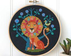Leo - lion zodiac sign - Satsuma Street modern cross stitch pattern PDF - Instant download