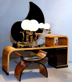 beautiful art deco vanity and lamp. Learn about your collectibles, antiques, valuables, and vintage items from licensed appraisers, auctioneers, and experts at BlueVault. Visit:  http://www.BlueVaultSecure.com/roadshow-events.php