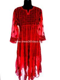 Buy Red and Black Resham Chikankari Anarkali