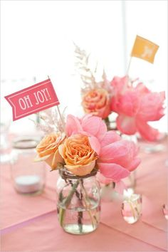 pink and orange floral arrangements