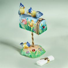 Limoges Bluebirds on Mailbox Floral Box