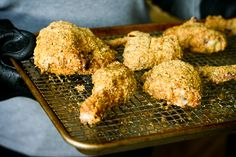 {Paleo} Oven-Fried Chicken - Really good!  I didn't have enough almonds for the almond meal, so substituted macademia nut meal for about half of the almond meal.  Delicious.