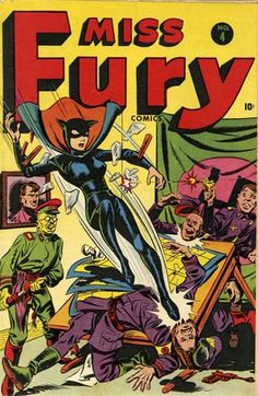 Cover art for Miss Fury vol. 1 issue no. 4, published by Timely Comics, United States, 1944, by Tarpe Mills. Because the character was unwed and had also adopted the son of former fiancé, she holds the distinction of being both a crime-fighter as well as a single mother.