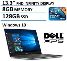 Dell XPS13 133Inch FHD IPS Infinity Borderless Display Laptop Intel Core i56200U 8GB RAM 128GB SSD Backlit Keyboard Windows 10 *** Details can be found by clicking on the image-affiliate link.